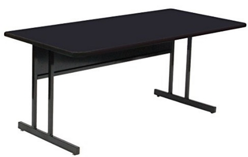 High Pressure Laminate Top Computer and Training Table Black Granite Fixed Desk Height