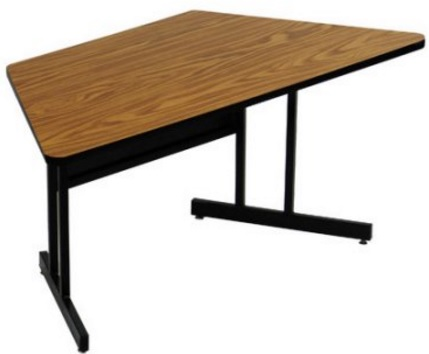 High Pressure Laminate Top Trapezoid Computer and Training Table Walnut 30 x 60 Fixed Desk Height