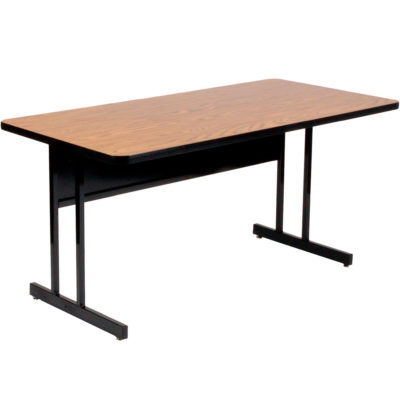 WS2448-06 High Pressure Laminate Top Computer and Training Table Medium Oak 24 x 48 Fixed Desk Height