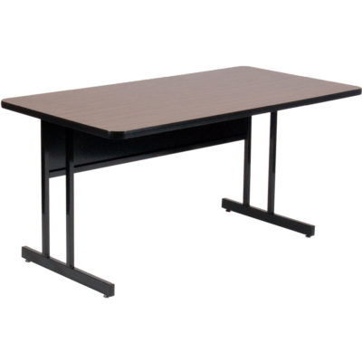 High Pressure Laminate Top Computer and Training Table Fixed Desk Height Walnut