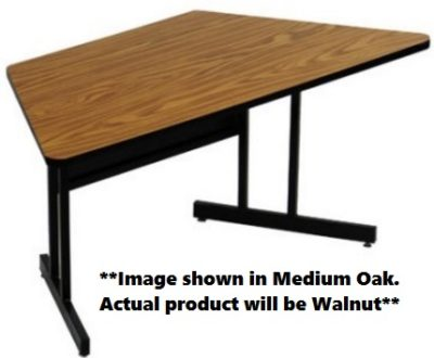 High Pressure Laminate Top Trapezoid Computer and Training Table Walnut Fixed Desk Height
