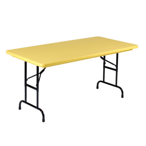 correll r3072-28 heavy duty plastic folding table yellow 30 w x 72 l