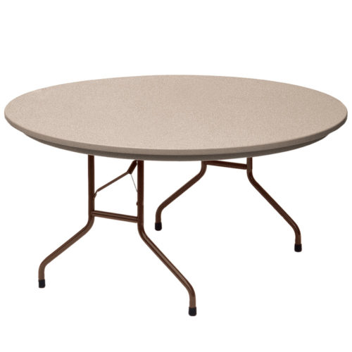 Correll R60 24 Heavy Duty Plastic Folding Table Mocha Granite 60 Inch Round  Fixed Height | Correll Tables For Less