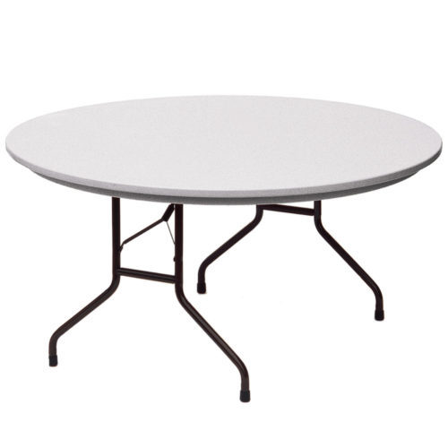 correll r60 23 heavy duty plastic folding table gray granite 60 inch round fixed height. Black Bedroom Furniture Sets. Home Design Ideas